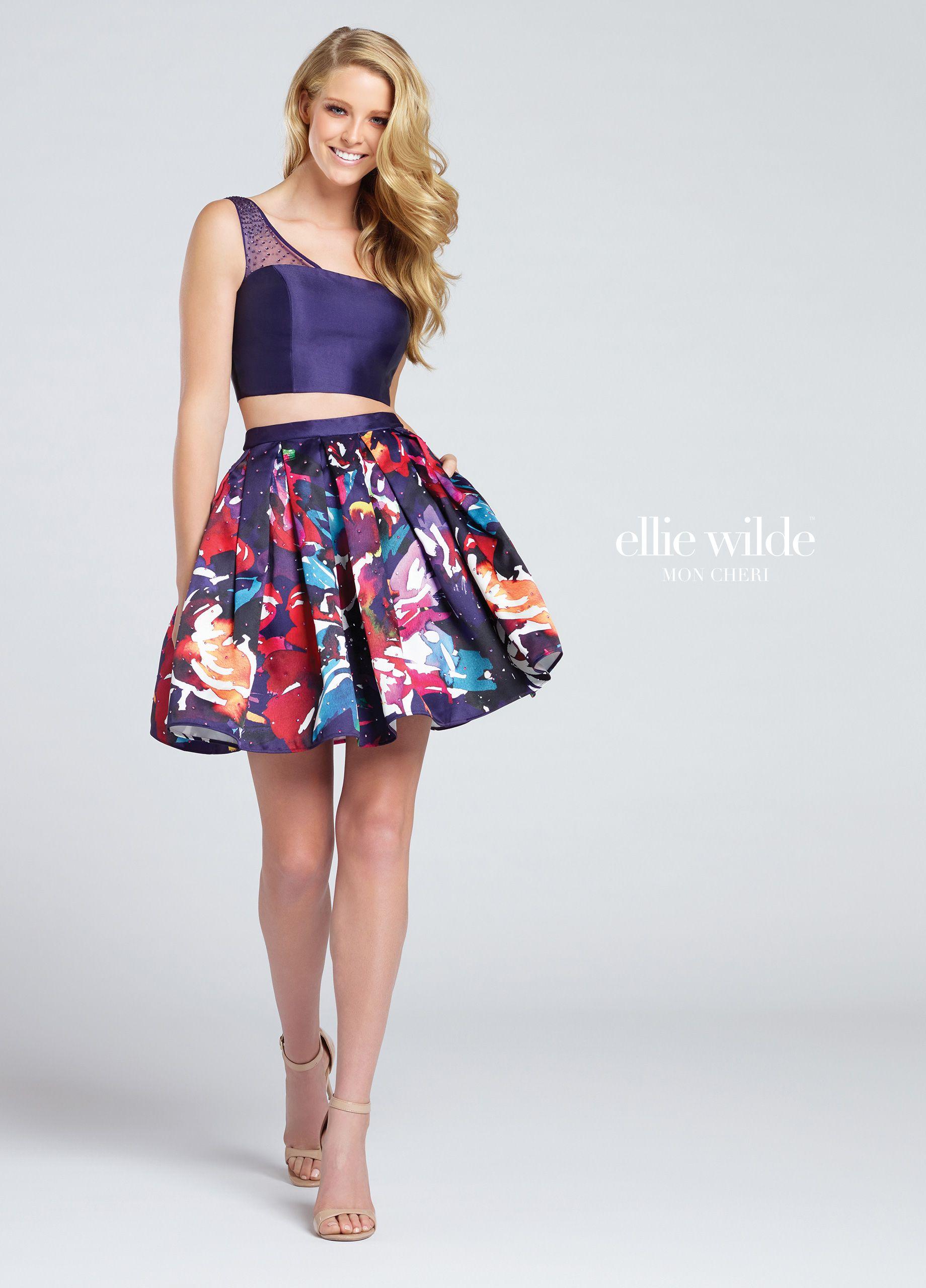 Two Piece Short Mikado Crop Top Prom Dress With Pockets - EW117006 ...