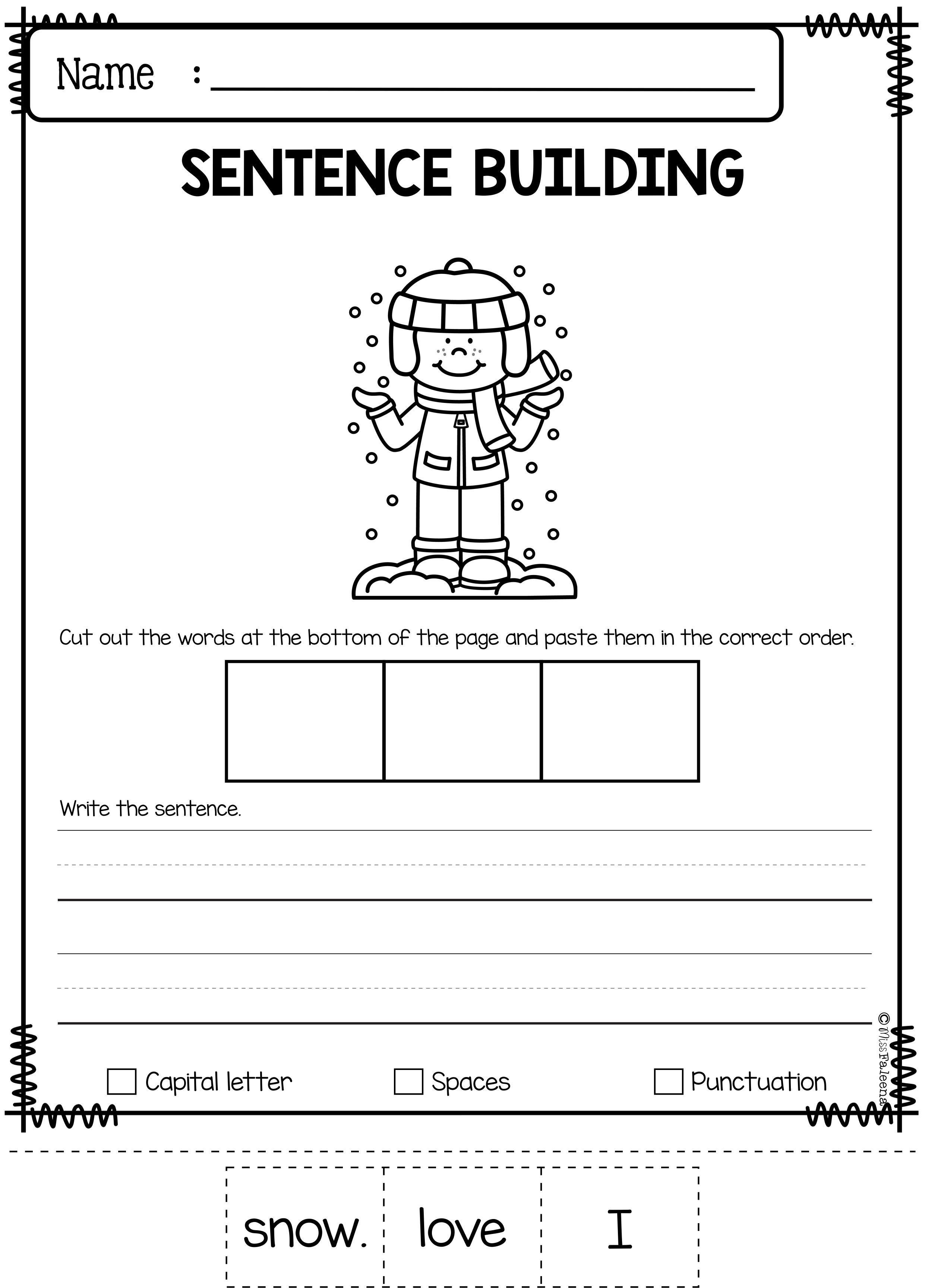 Sentence Building Worksheets Kindergarten