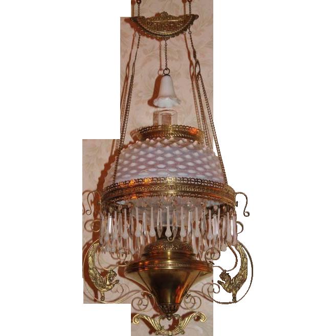 Wonderful Bradley Hubbard Griffin Opalescent Hanging Library Kerosene Lamp VERY RARE MATCHING UNDERSHADE Victorian LampsAntique