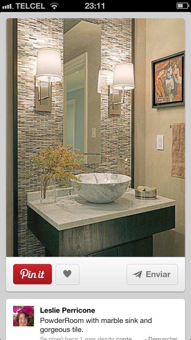 Bathroom Backsplash   Powder Room Tiled Wall Behind Sink
