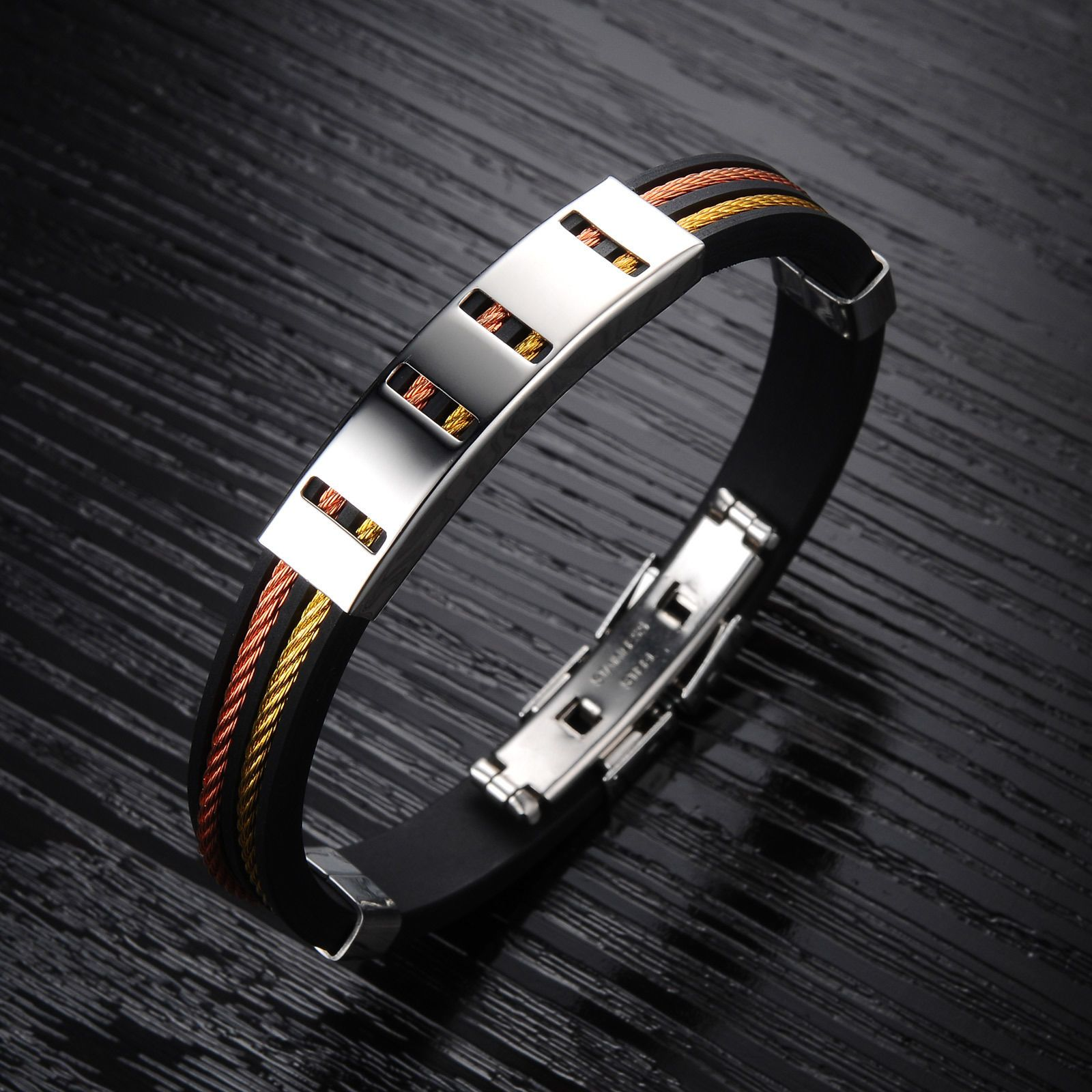Black rubber silicone bracelet for men personality wristband menus