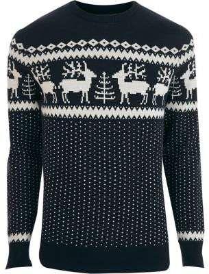 Genieße den reduzierten Preis Durchsuchen Sie die neuesten Kollektionen retro Mens Navy Jack and Jones Premium Christmas sweater #Isle ...