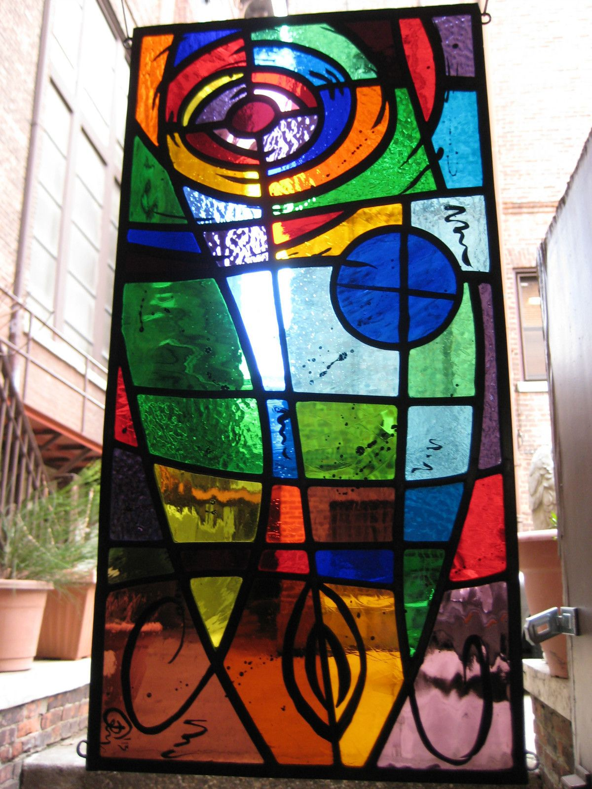 Stained Glass Panel Abstract 1 Leaded New Hand Painted Kiln Fired