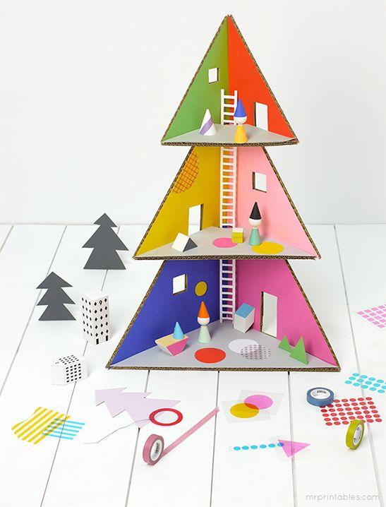 Christmas Tree Doll House - Mr Printables Crafts - Christmas and