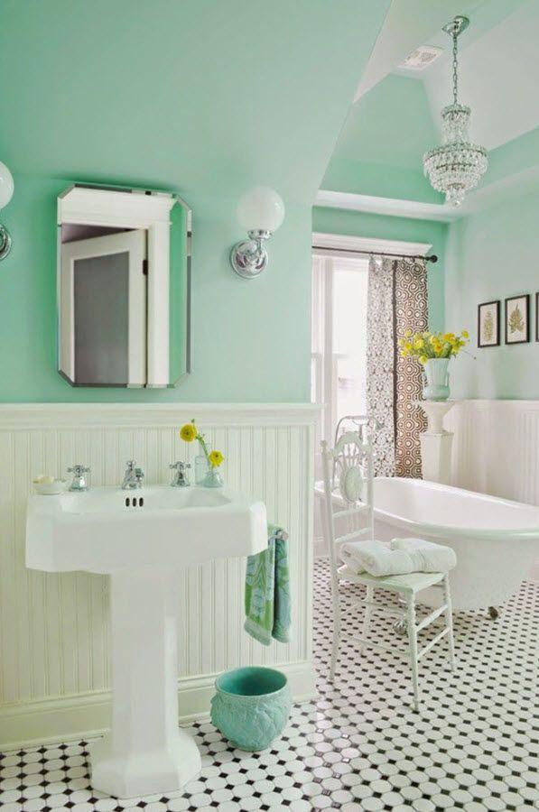 35 Vintage Black And White Bathroom Tile Ideas And Pictures Green Bathroom Mint Green Bathrooms Patterned Bathroom Tiles