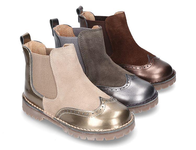 744245a0d4b Tienda online de calzado infantil Okaaspain. Diseño y Calidad al mejor  precio fabricado en España. Botín con elástico en piel combinada y suela  gruesa.