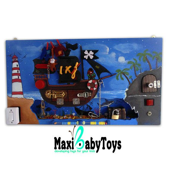 Busy Board, Activity Board, Sensory Board, Montessori educational Toy,Pirates' Treasures