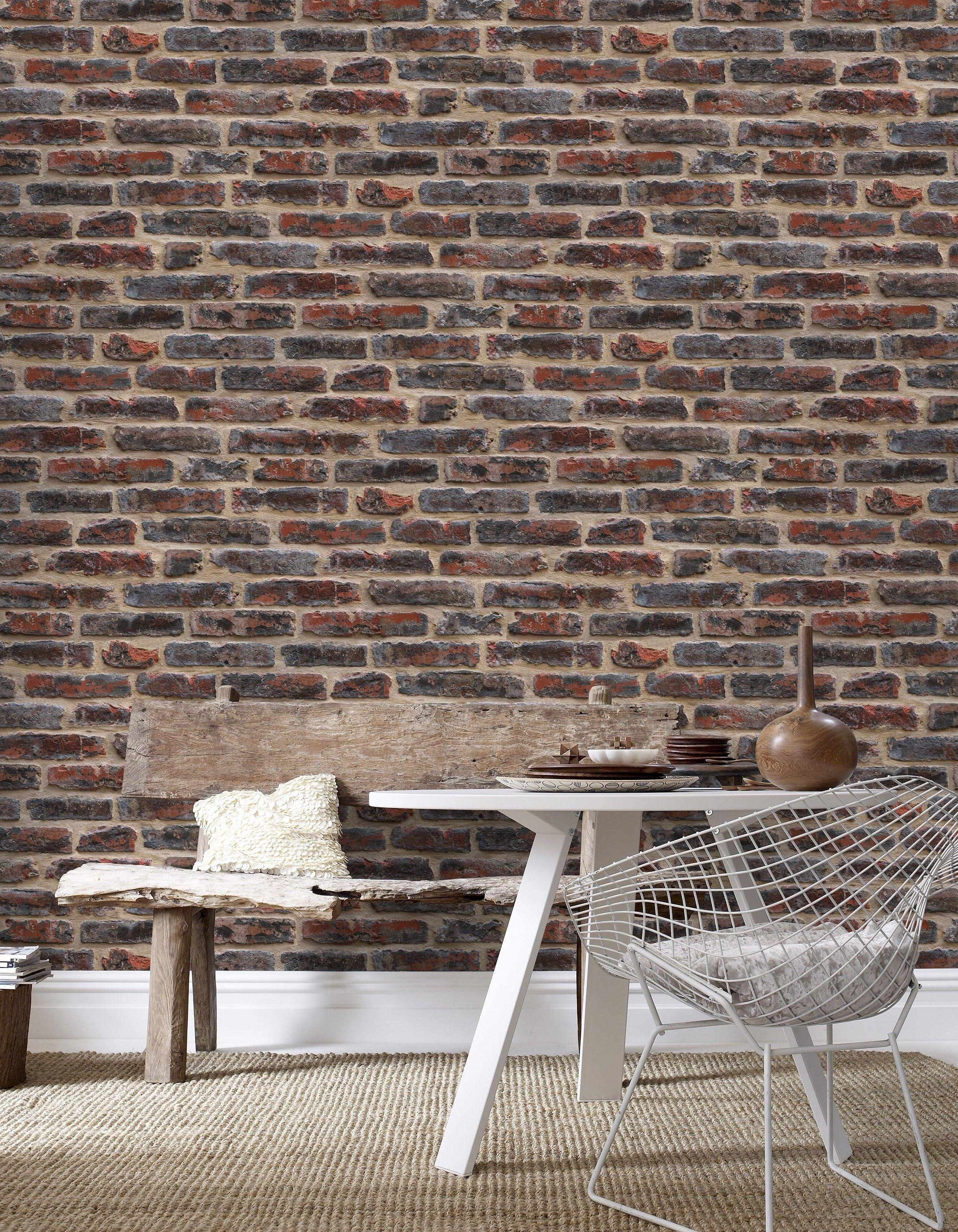 Ταπετσαρία Red brick nonwoven με μοτίβο Μ10,05xΠ0,53m