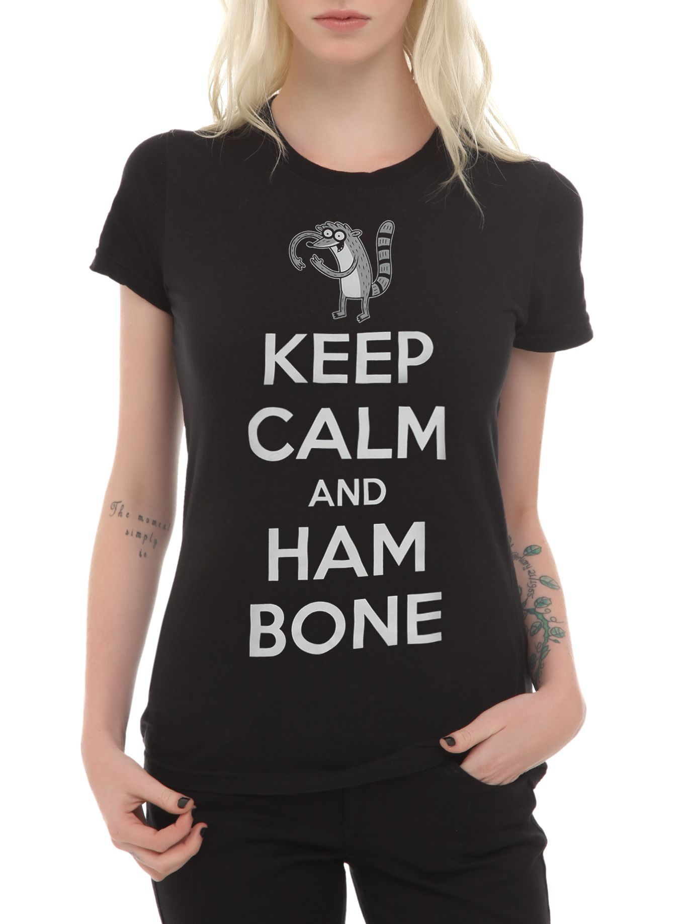 Orphan black t shirt uk - Fitted Black Tee From Regular Show With A Hamboning Rigby Design That Reads Keep Calm