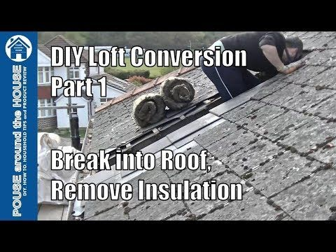 Loft conversion part 1 - Break into roof, remove old insulation & mortar. DIY Loft conversion - YouTube #loftconversions