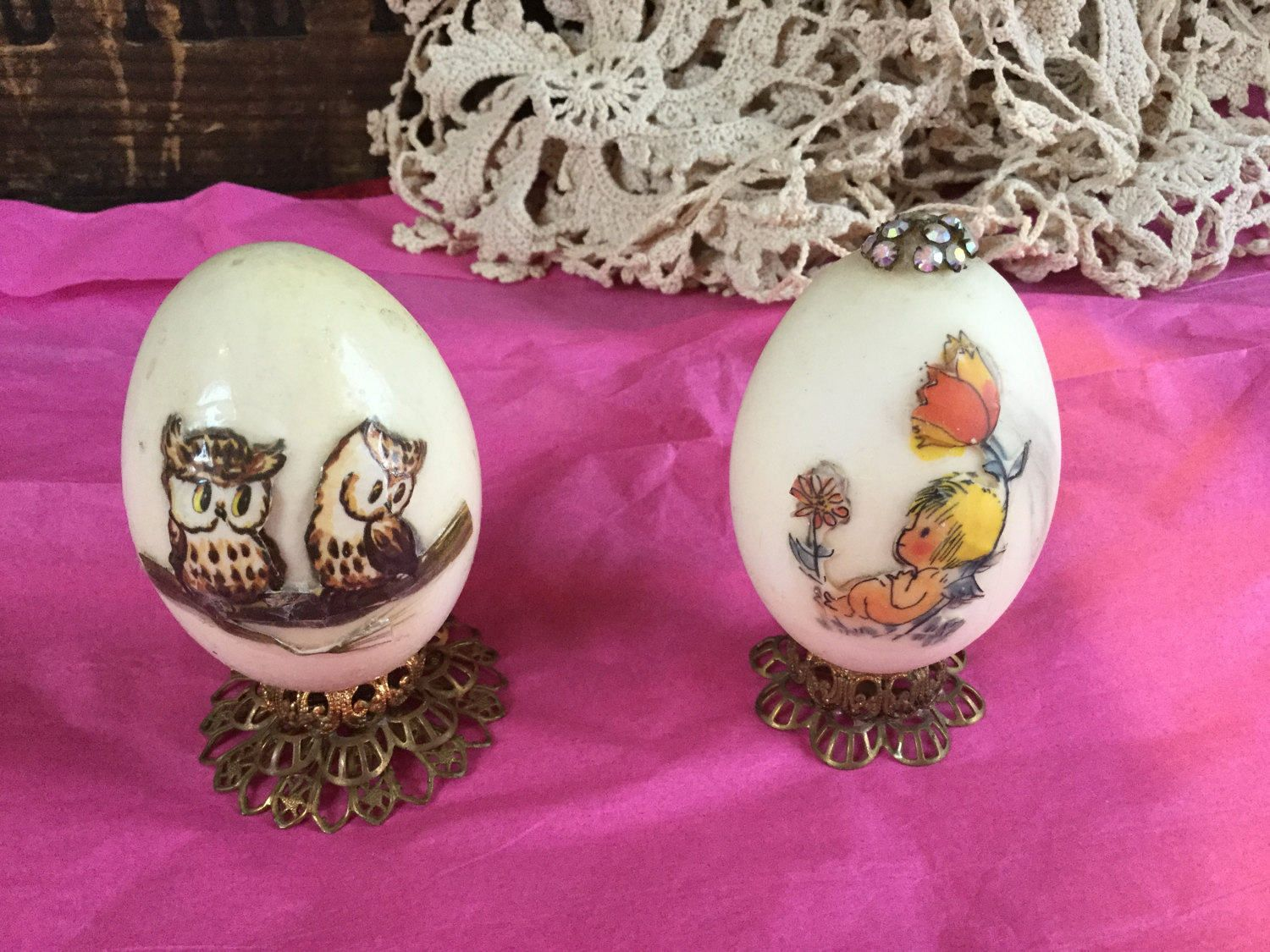 Vintage Hand Made Decoupaged Easter Eggs on stands, 1977 by SunshineVintageGoods on Etsy