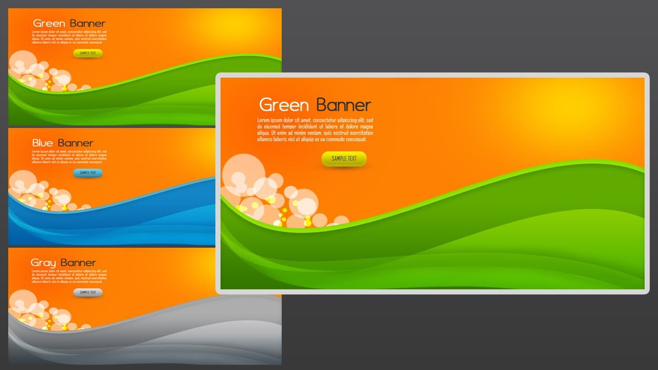Design for banner using photoshop - Today S Tutorial We Will Learn To Create Web Banners Abstract In Photoshop We Will Make An Abstract Background In Green With A Layer Mask Techniques