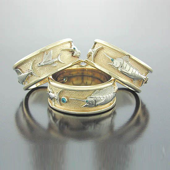 14K Hand Carved Fish Ring for an outdoorsman of a groom