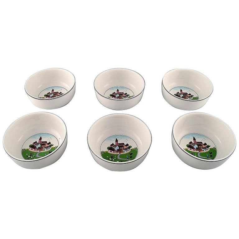 Set Of 6 1stdibs Porcelain – Villeroy & Boch Naif Dinner Service Bowls Luxembourgish Porcelain