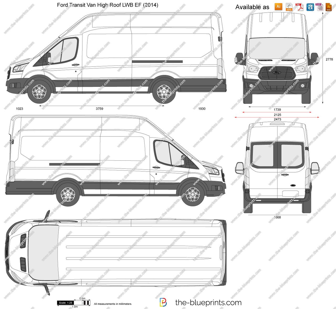 Ford Transit Van High Roof Lwb Ef Vector Drawing Ford Transit