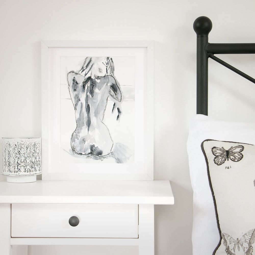 Black And White Wall Art   Nude Painting   Black And White Print   Print    Gicee Print   Sensual Art   Bedroom Decor   Living Room