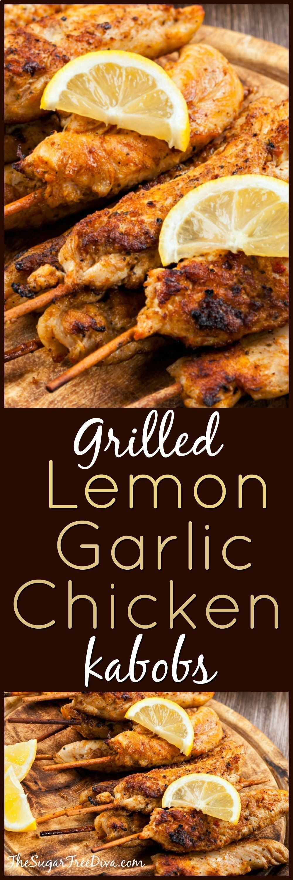 Grilled Lemon Garlic Chicken Kabobs - This recipe from THE SUGAR FREE DIVA is easy to follow and delicious to eat! whole30 grilling recipes;grilling recipes dinner;grilling dishes;grilling recipes healthy;grilling recipes veggies;recipes for grilling;grilling tip;grilling healthy;grilling recipes easy;grilling onions;grilling recipes chicken;grilling recipes meat;grilling recipes sides;healthy grilling recipes;meat grilling recipes;healthy grilling;grilling chicken breastrecipes;grilli... #chick #chickenbreastrecipeseasy