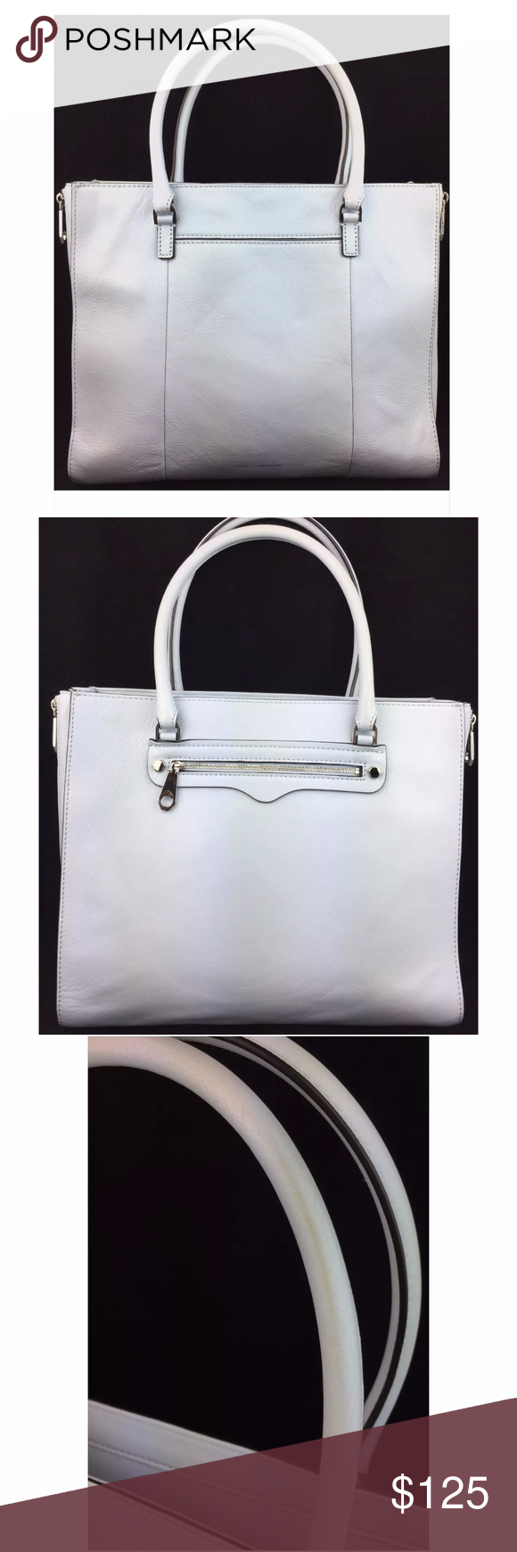 """Rebecca Minkoff Side Zip Regan Leather Medium Tote Used: Missing the fringe on all of the zippers pullers. 