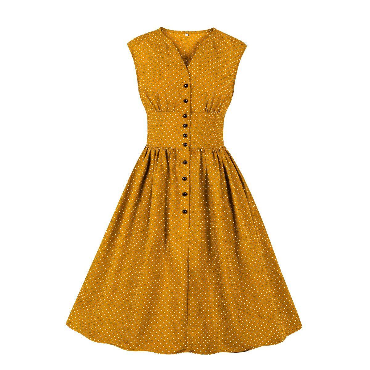 Wellwits Womens Split Neck Floral Button 1940s Day 1950s Vintage Tea Dress
