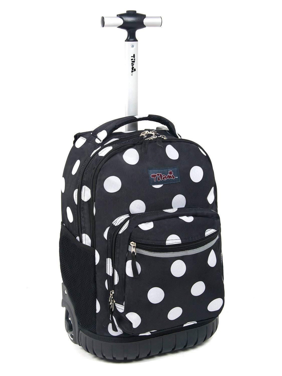 06ec06e4beb6 Tilami Rolling Backpack Armor Luggage School Travel Book Laptop 18 Inch  Multifunction Wheeled Backpack Polo Dots