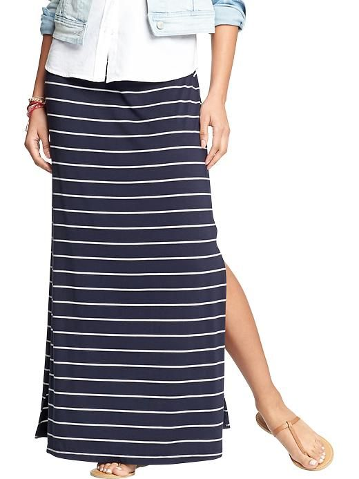 Women's Jersey Side-Slit Maxi Skirts Product Image