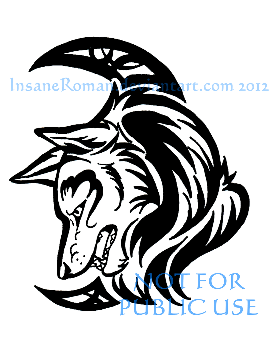 bc4368897 Wolf and Crescent Tribal by InsaneRoman on DeviantArt | Tattoo ideas ...