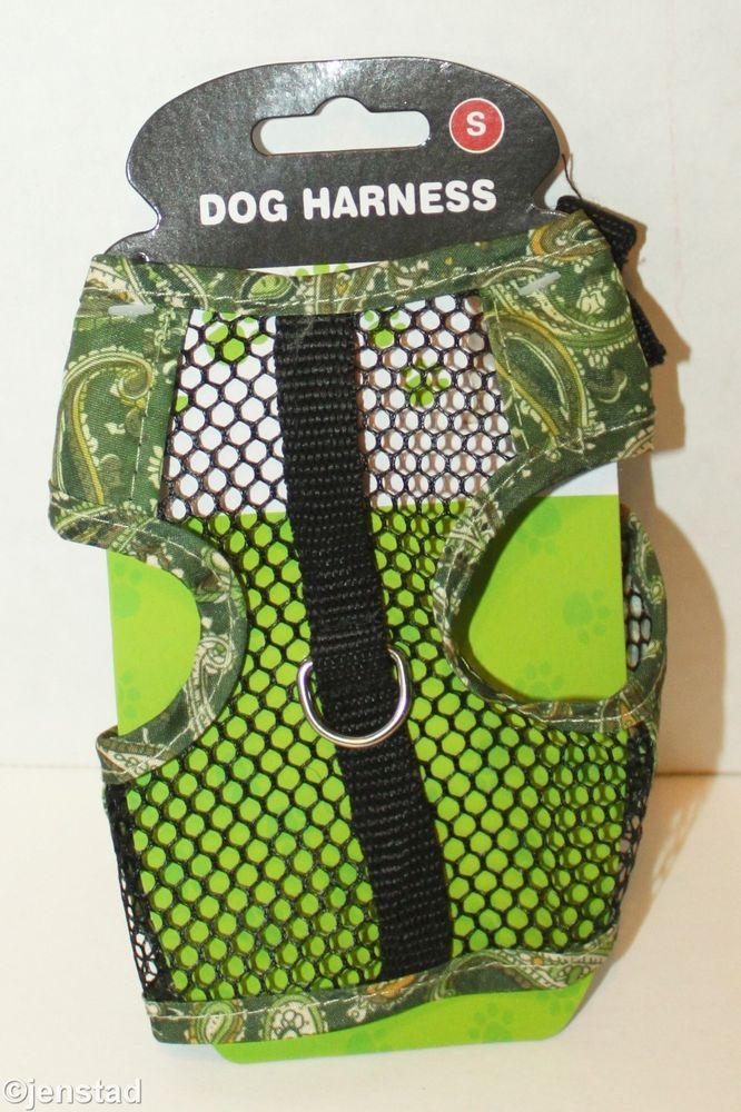 """DOG GENERIC VEST GREEN PAISLEY & MESH HARNESS FOR XSMALL SMALL DOGS 5""""-8"""" NEW #Unbranded"""