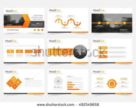 Orange triangle presentation templates, Infographic elements flat