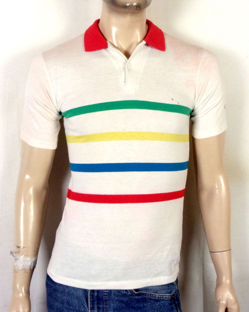 Vtg 80s Soft Thin Ocean Pacific Op Colorful Striped Polo Shirt Surf