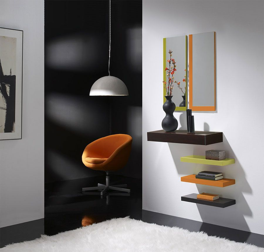 meuble d 39 entr e avec miroir et tiroir goya coloris weng anis orange et gris sweet home. Black Bedroom Furniture Sets. Home Design Ideas