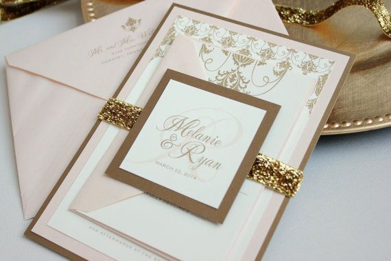 Blush And Ivory Wedding Invitations: Southern Glamour Panel Invitation Suite