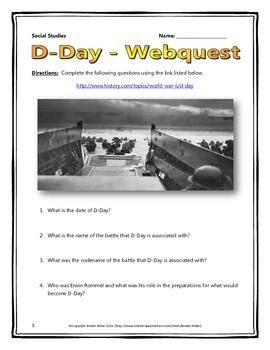 D-Day (World War II) - Webquest with Key | Social Studies ...