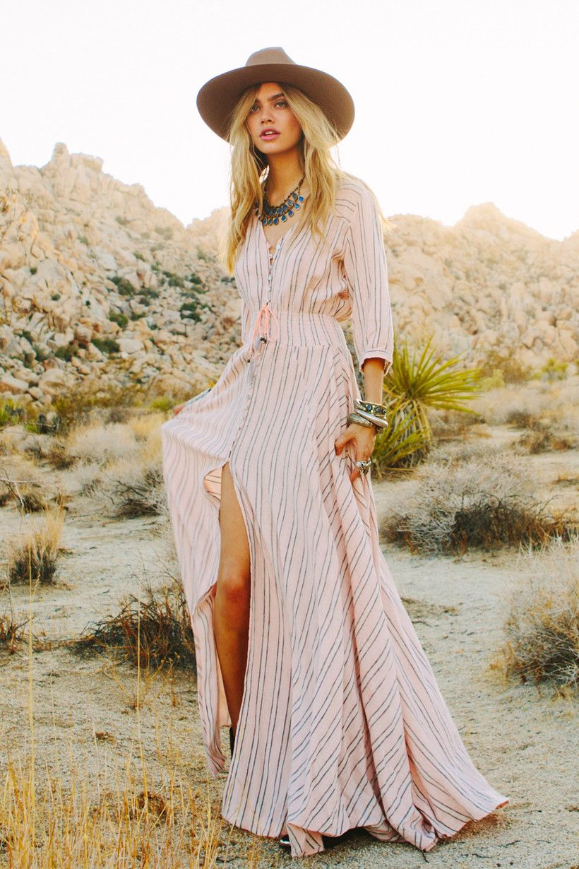 13d55378e8 Island boho in coral Maxi Dress With Slit