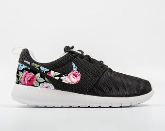 Black and White Roshe Run Customs with Floral Print. BASE SHOES We use 100%