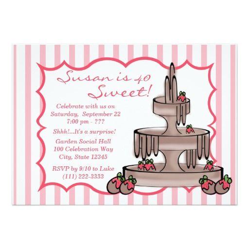 Chocolate Fountain Birthday Invites