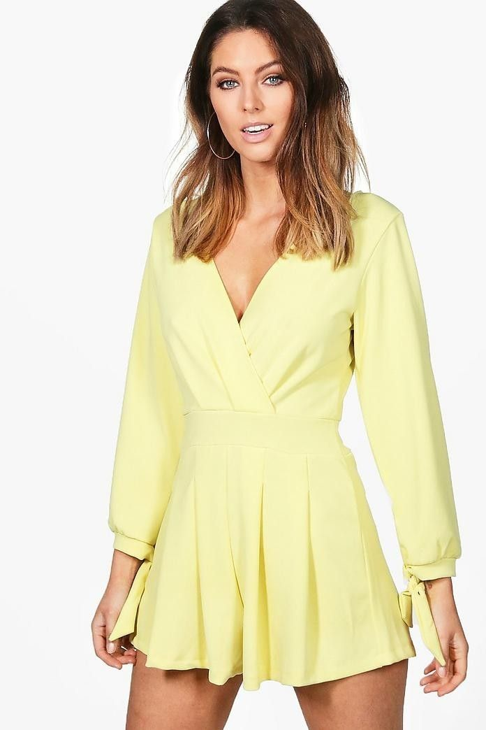 4c1f4a2acf1 Amelia Wrap Front Tie Sleeve Playsuit
