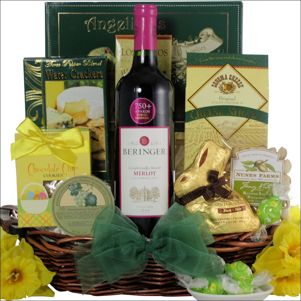 This easter holiday send them this beringer merlot easter gourmet this easter holiday send them this beringer merlot easter gourmet wine gift basket the easy negle Images
