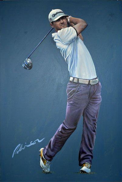 Portrait Painting Of Northern Irish Golfer Alan Dunbar By Mark