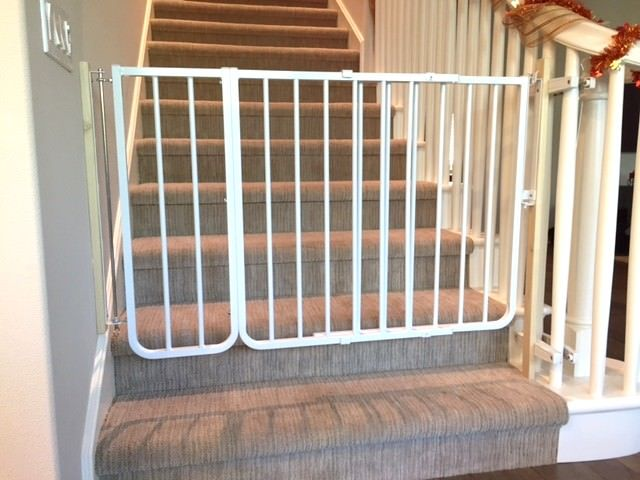 Baby Gate Mounted At Bottom Of Stairs Using A NO HOLES Banister Clamp To  Prevent Damage