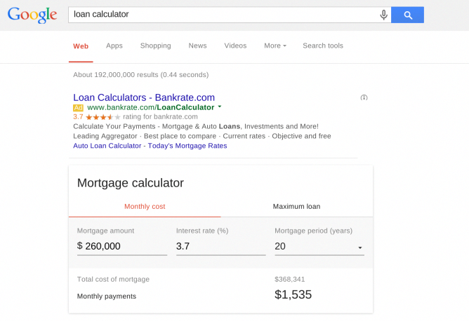 Google Search S New Mortgage Calculator Can Help You Plan Beyond The Down Payment Mortgage Payment Calculator Mortgage Amortization Mortgage Calculator Tools