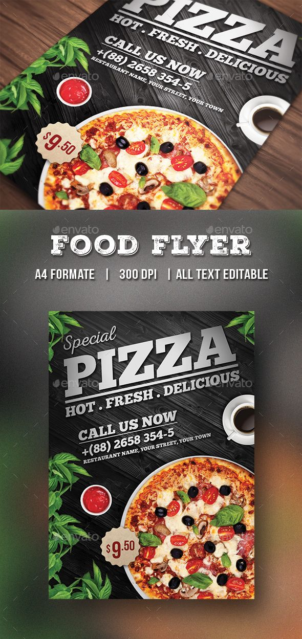 Pizza Flyer  Food Flyer  Pizzas Flyer Template And Menu