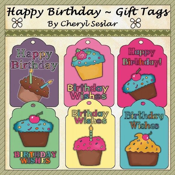 Happy Birthday Gift Tags *pbc-gt