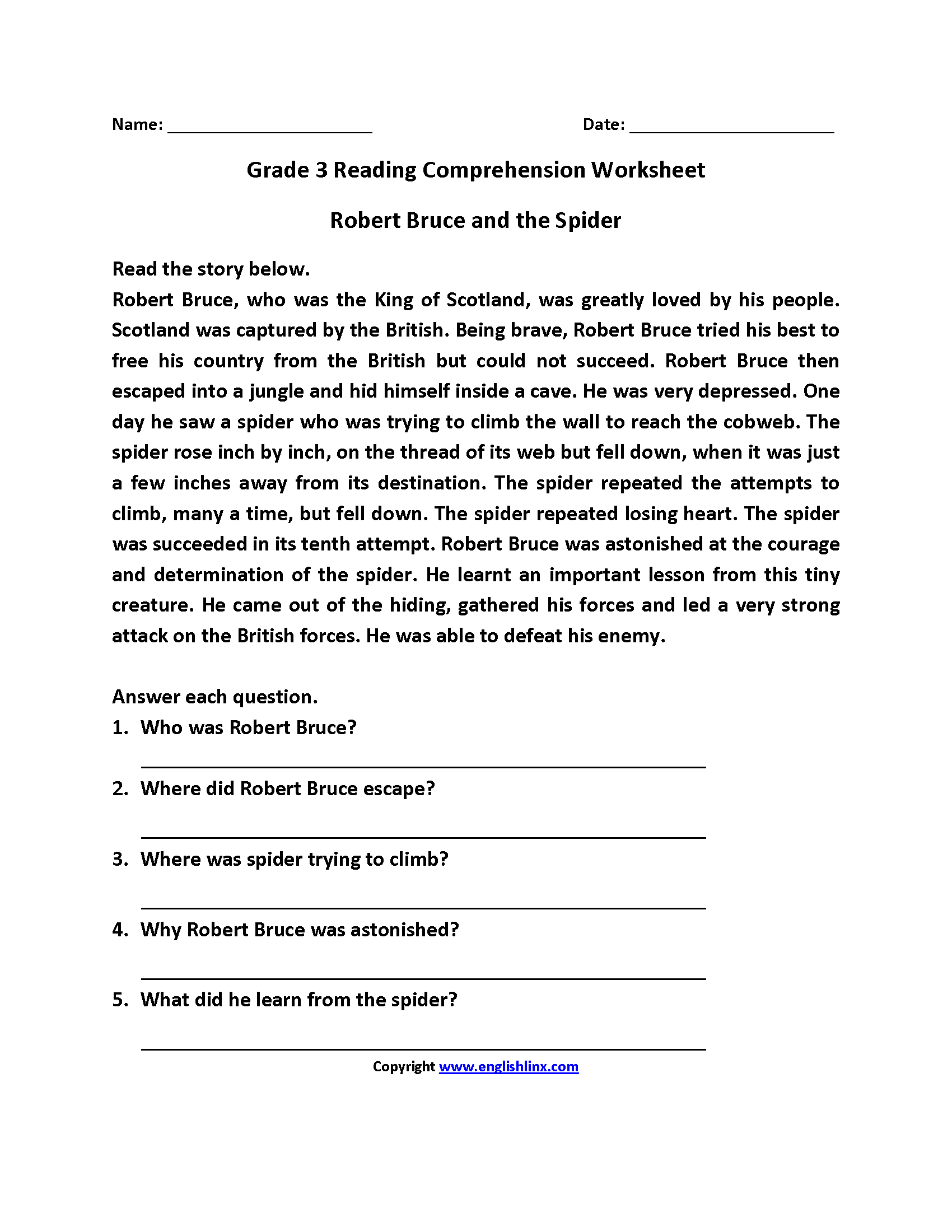 Robert Bruce and Spider Third Grade Reading Worksheets   Reading  comprehension worksheets [ 2200 x 1700 Pixel ]