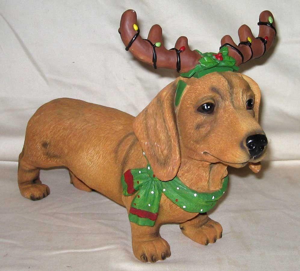 Cracker Barrel 12 Long Holiday Dachshund Merry Merry Antlers