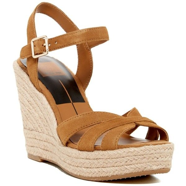 Dolce Vita Tracey Espadrille Wedge Sandal (80 BRL) ❤ liked on Polyvore featuring shoes, sandals, camel micr, open toe sandals, strappy wedge sandals, strappy sandals, platform sandals and wedge espadrilles