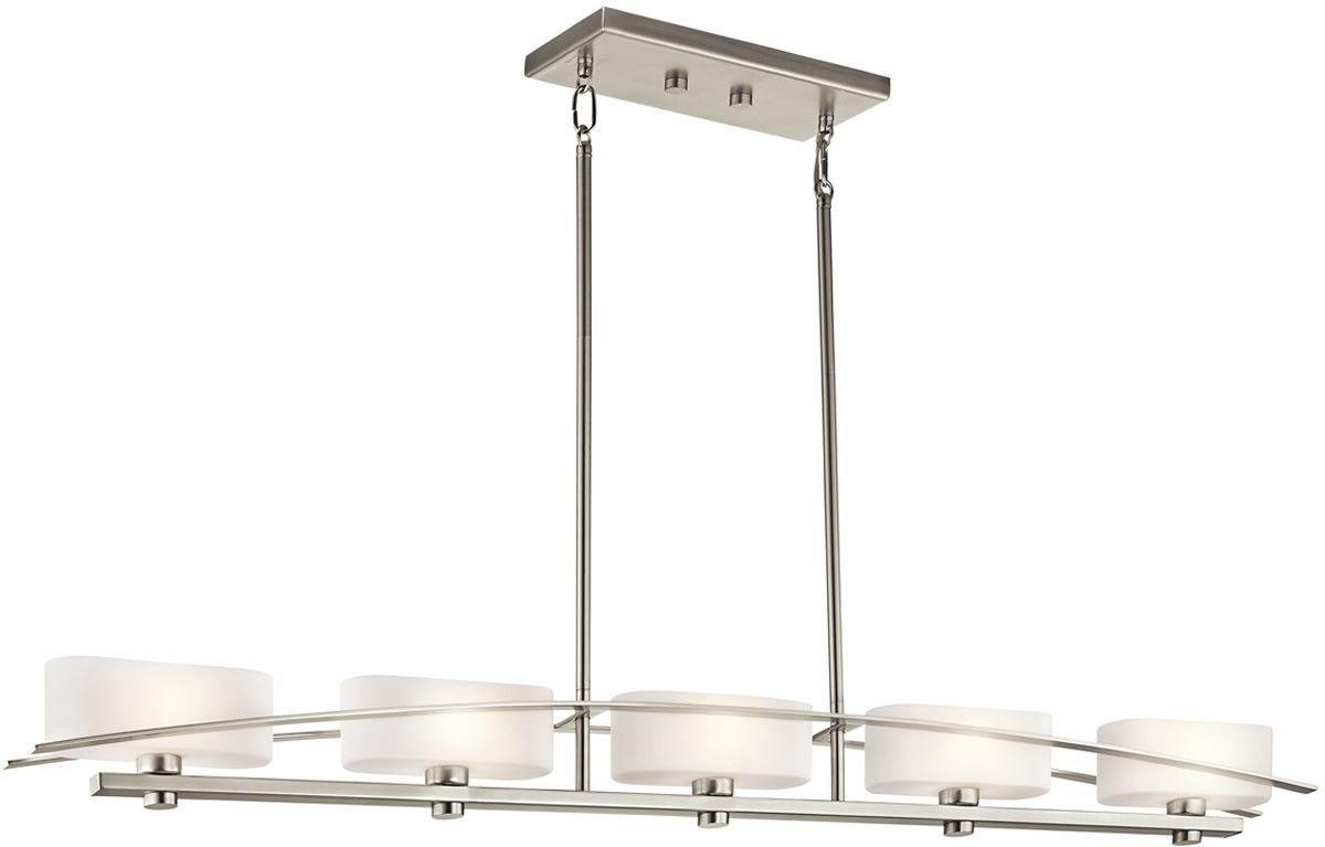 51 inchw suspension 5-light linear chandelier brushed nickel