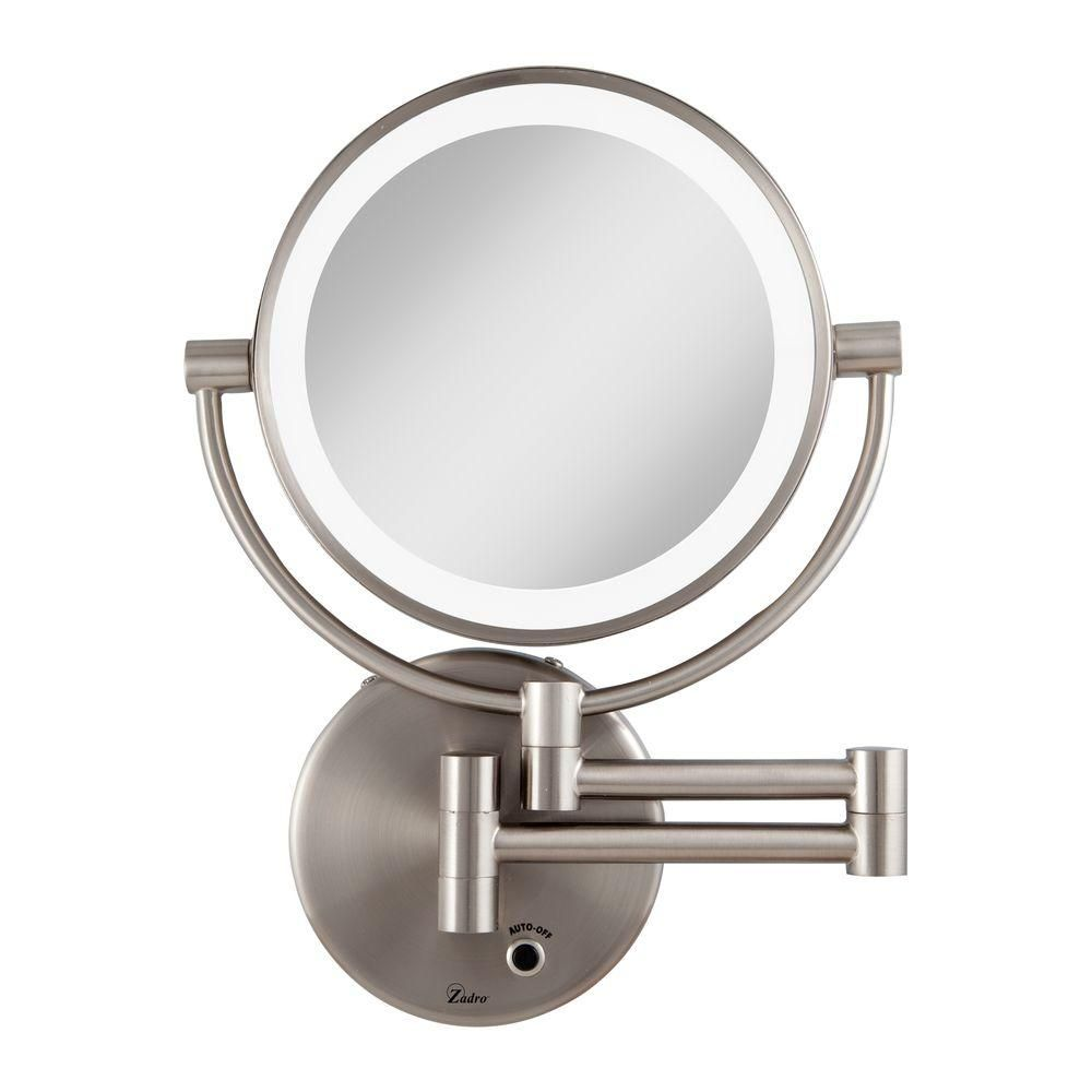 Zadro 12 In L X 9 In W Led Lighted Wall Makeup Mirror In Satin Nickel Ledmw45 Lighted Wall Mirror Wall Mounted Lighted Makeup Mirror Wall Mounted Makeup Mirror
