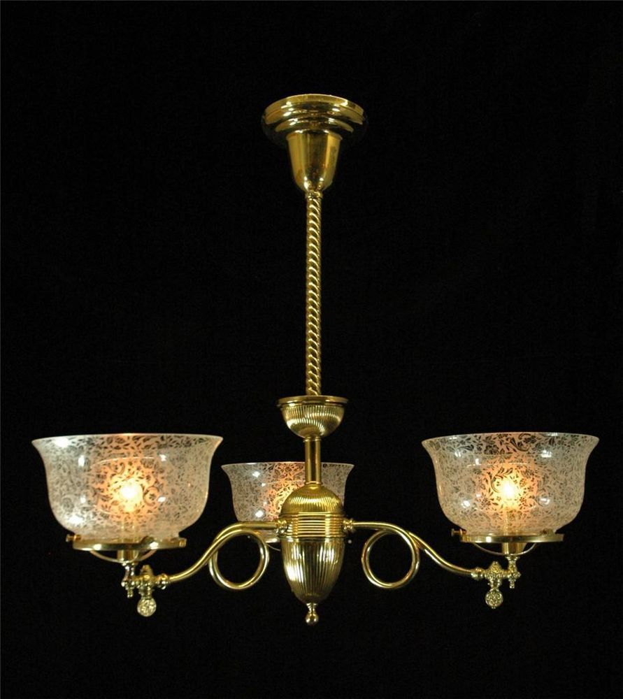 Victorian 1890 antique chandelier restored brass gas light etch glass shade victorian victorian lighting