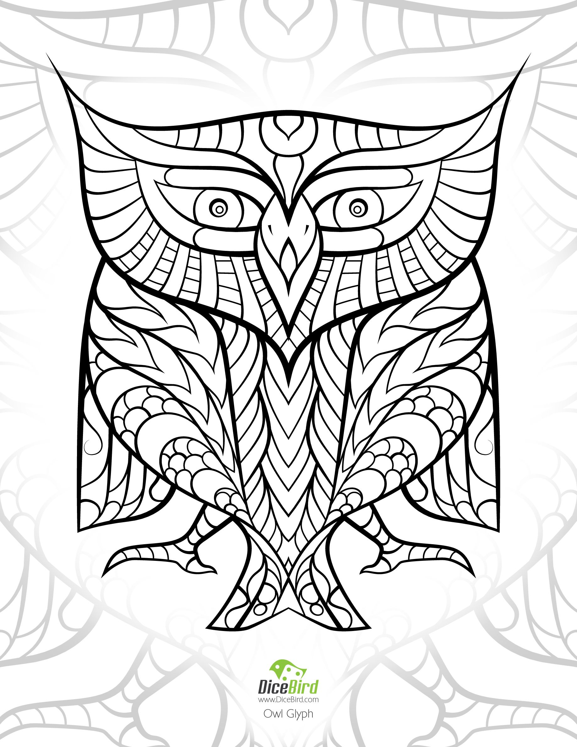 Stress relief coloring pages mandala - Egyptian Hieroglyph Owl Dicebird Com Free Adult Printable Coloring Pages Mandalas Doodles