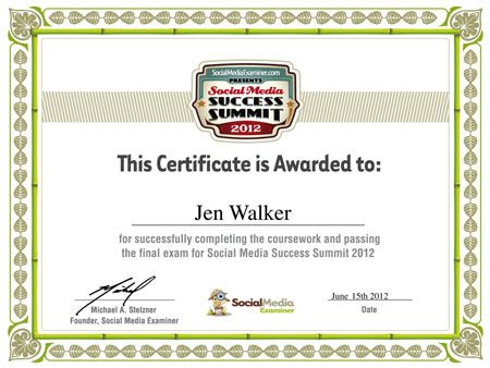 Certificate Of Achievement From Social Media Success Summit